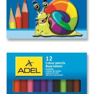 ADEL-OKUL GEREÇLERİ-Resim Gereçleri-Kuru Boyalar-Adel Boya Kalemi 12 Renk 1/2 Boy
