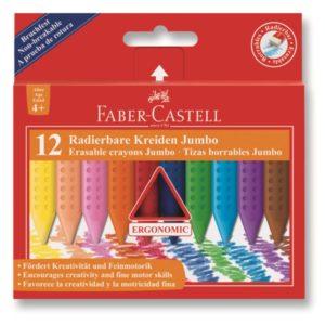 Faber-Castell-OKUL GEREÇLERİ-Resim Gereçleri-Pastel Boyalar-Faber-Castell Grip Jumbo Mum Boya 12 Renk