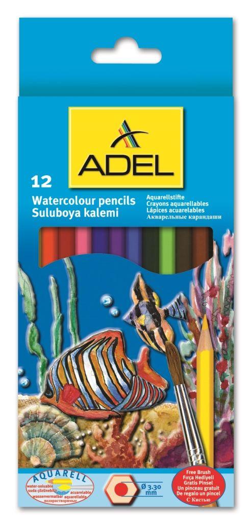 ADEL-OKUL GEREÇLERİ-Resim Gereçleri-Kuru Boyalar-Adel Aquarell Boya Kalemi 12 Renk