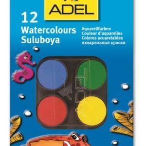 ADEL-OKUL GEREÇLERİ-Resim Gereçleri-Sulu Boyalar-Adel Suluboya 12 Renk Küçük Boy (Stoklarla Sınırlıdır)