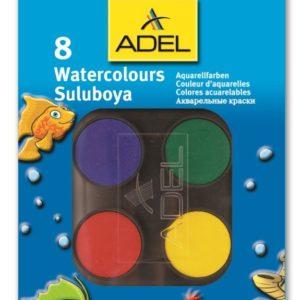 ADEL-OKUL GEREÇLERİ-Resim Gereçleri-Sulu Boyalar-Adel Suluboya 8 Renk Küçük Boy (Stoklarla Sınırlıdır)