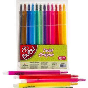 BU-BU-OKUL GEREÇLERİ-Resim Gereçleri-Mum Boyalar-Bu-Bu 12 Renk Twist Crayon
