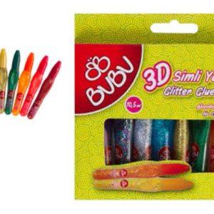 BU-BU-OKUL GEREÇLERİ-Okul Öncesi Ürünler-Simli Yapıştırıcılar-Bu-Bu 3D Simli Yapıştırıcı 5 mm 10 Renk