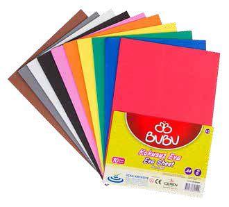 BU-BU-OKUL GEREÇLERİ-Okul Öncesi Ürünler-Eva Çeşitleri-Bu-Bu Eva A4 Yapışkanlı 2mm 10 Renk