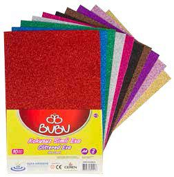 BU-BU-OKUL GEREÇLERİ-Okul Öncesi Ürünler-Eva Çeşitleri-Bu-Bu Eva Simli A4 2mm 10 Renk