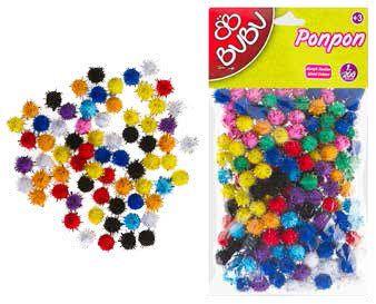BU-BU-OKUL GEREÇLERİ-Okul Öncesi Ürünler-Ponponlar-Bu-Bu Ponpon Simli 1cm 200'lü Karma