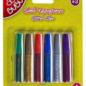 BU-BU-OKUL GEREÇLERİ-Okul Öncesi Ürünler-Simli Yapıştırıcılar-Bu-Bu Simli Yapıştırıcı 6ml 6 renk Blistercard