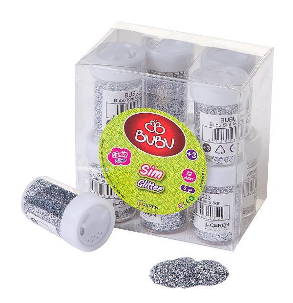 BU-BU-OKUL GEREÇLERİ-Okul Öncesi Ürünler-Etkinlik Materyalleri-Bubu Sim Gümüş Rengi 8gr 12'li Pvc
