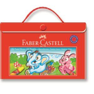 Faber-Castell-OKUL GEREÇLERİ-Resim Gereçleri-Pastel Boyalar-Faber-Castell 18 Renk Plastik Çantalı Pastel Boya