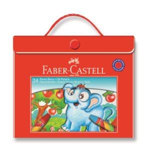 Faber-Castell-OKUL GEREÇLERİ-Resim Gereçleri-Pastel Boyalar-Faber-Castell 24 Renk Plastik Çantalı Pastel Boya