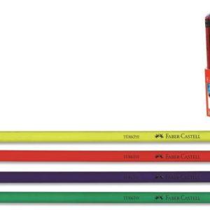 Faber-Castell-OFİS MALZEMELERİ-Yazı Gereçleri-Kurşun Kalemler-Faber-Castell Renkli Gövde Silgili Kurşunkalem Siyah Lata (Stoklarla S