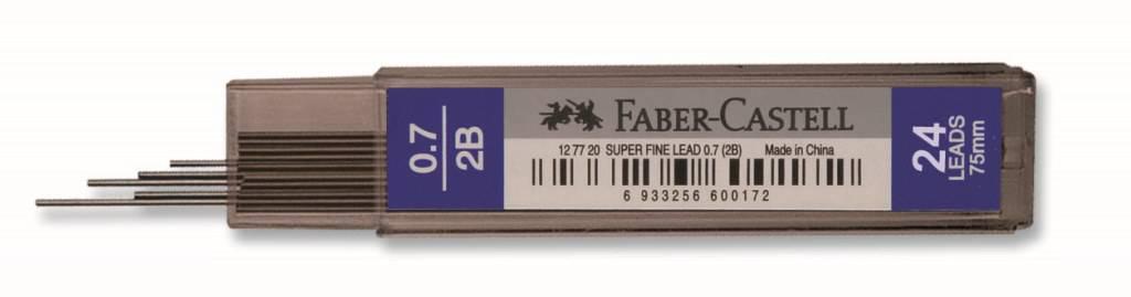 Faber-Castell-OFİS MALZEMELERİ-Yazı Gereçleri-Versatil Kalem Uçları (Minler)-Faber-Castell Süper Fine Min 0.7Mm 2B 75mm (24 Min/Tüp)