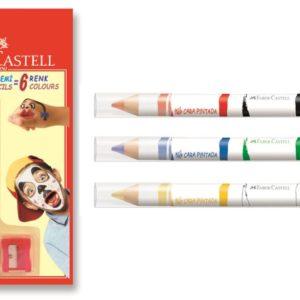 Faber-Castell-OKUL GEREÇLERİ-Resim Gereçleri-Yüz Boyaları-Faber-Castell Yüz Boyası Kalemi 6 Renk