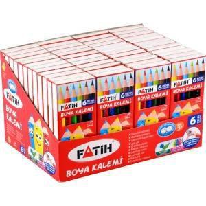 FATİH-OKUL GEREÇLERİ-Resim Gereçleri-Kuru Boyalar-Fatih 6 Renk 1/2 Boy Kuruboya