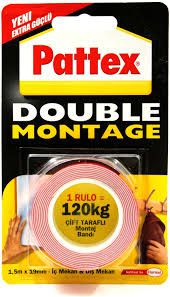 PATTEX-OFİS MALZEMELERİ-Bantlar Ve Kesicileri-Çift Taraflı Bantlar-Pattex Double Montaj Bantı 120 Kg. 13138