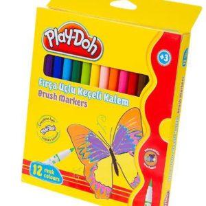 PLAY-DOH-OKUL GEREÇLERİ-Resim Gereçleri-Kalem Boyalar-Play-Doh 12 Renk Fırça Uçlu Keçeli Kalem