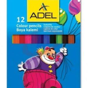 ADEL-OKUL GEREÇLERİ-Resim Gereçleri-Kuru Boyalar-Adel 9510 Jumbo Hexa Boya Kalemi 12 Renk Tam Boy