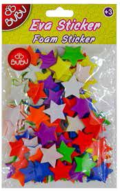 BU-BU-OKUL GEREÇLERİ-Okul Öncesi Ürünler-Etkinlik Materyalleri-Bu-Bu Eva Sticker Yıldız Orta 12'li Pvc