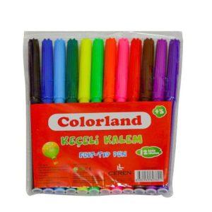COLORLAND-OKUL GEREÇLERİ-Resim Gereçleri-Pastel Boyalar-Colorland Keçeli Kalem 12'li Pvc