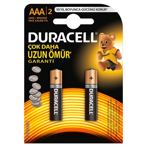 DURACELL-OFİS ELEKTRONİĞİ-Piller--DURACELL İNCE KALEM PİL (AAA) 2Lİ