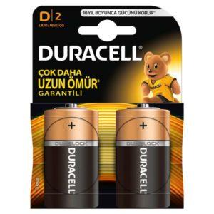DURACELL-OFİS ELEKTRONİĞİ-Piller--DURACELL D BOY PİL 2Lİ