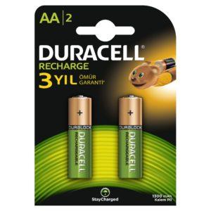 DURACELL-OFİS ELEKTRONİĞİ-Piller--Duracell Rechargeable 1300 Mah Kalem Pil 2Li