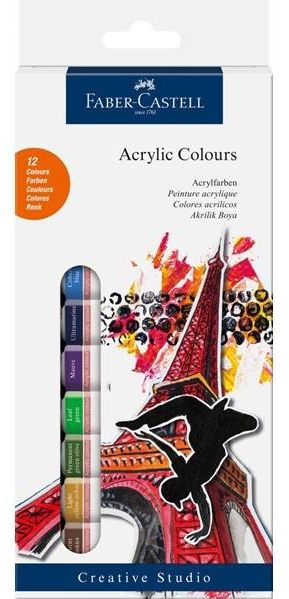 Faber-Castell-OKUL GEREÇLERİ-Resim Gereçleri-Akrilik Boyalar-Faber-Castell Akrilik Boya 12li Tüp
