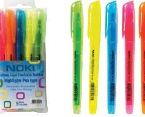 NOKİ-OFİS MALZEMELERİ-Yazı Gereçleri-Fosforlu Kalemler-Noki Kalem Tipi Fosforlu 5Lİ Kalem