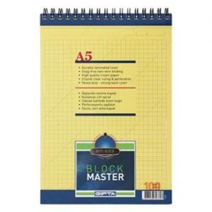 Block Master Spiralli Karton Kapak Blok.A5-100 Yaprak Kare