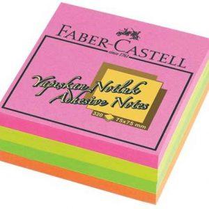 Faber-Castell Yapışkan Notluk 75X75mm, Karışık Fosforlu Renkli Küp
