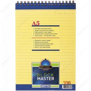 Block Master Spiralli Karton Kapak Blok.A5-100 Yaprak Çizgili